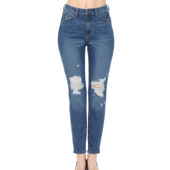 "Wax Women/'s Push-Up 27/"" Skinny Jean w// Destruction"