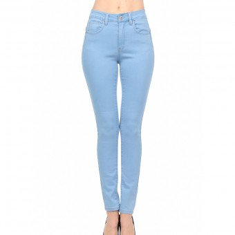 High rise push-up ripped light blue skinny washed crop denim  by wax jeans 90134